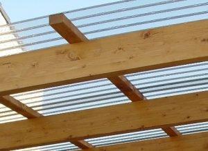 Terrassendach aus Holz, Wellplatten, Stegplatten